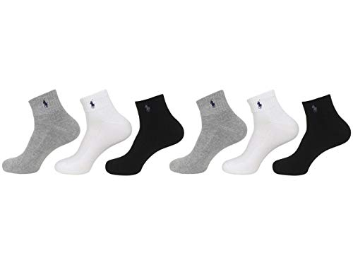 Polo Ralph Lauren Men's 6-Pack Athletic Quarter Sock, Grey Assorted, 10-13 Fits Shoe 6-12.5