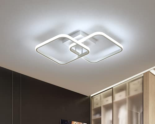 Osairous Lampada da soffitto quadrata moderna a LED, Plafoniera in acrilico 42W per Cucina Sala da pranzo Salotto Studio Ufficio 6500K, Diametro 59cm (Bianco)