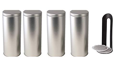 James Premium 4X Kaffeepad-Dose, Dekodose, Verschiedene Dekore, OR Aufbewahrungsbehälter für Kaffeepads (4 Stück - Set 2) Aktion + 4 Padheber