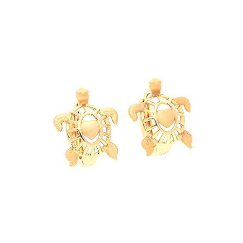 Pendientes de aro de tortuga para niños, oro amarillo 750 laminado*