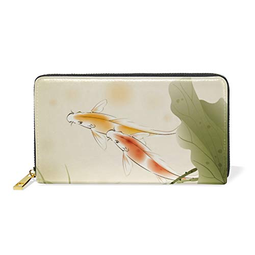 Ink Japanese Koi Fish Lotus Flower Leather Womens Zipper Wallets Clutch Coin Case
