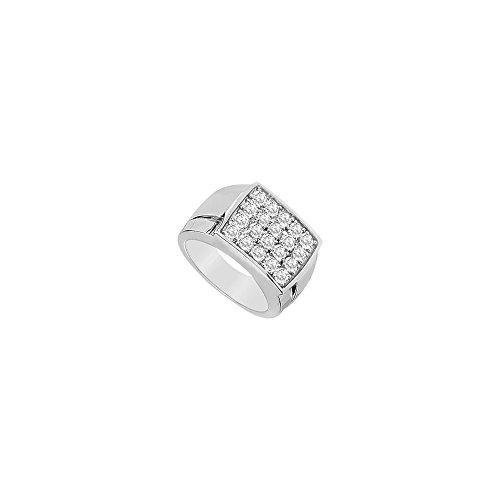Photo of Mens Diamond Ring 14K White Gold 0.60 CT Diamonds