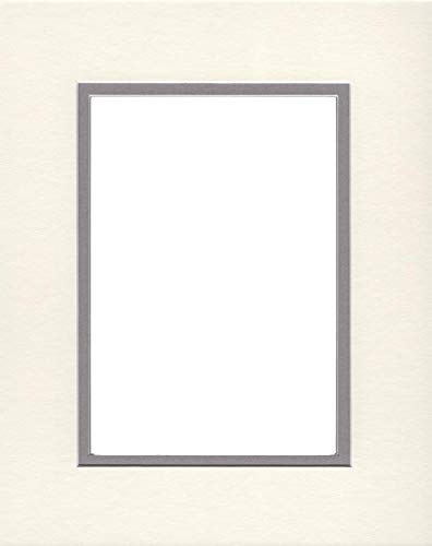 Pack of (2) 22x28 Double Acid Free White Core Picture Mats Cut for 18x24 Pictures in Cream and Ocean Grey