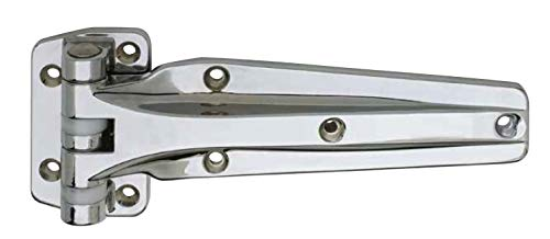 Kason 1241 Series Chrome Reversible Heavy Duty Double Knuckle Hinge for Walk-in Freezer/Cooler/Refrigerator (Select Offset from Flush & 1-1/8') (Offset: 1-1/8')