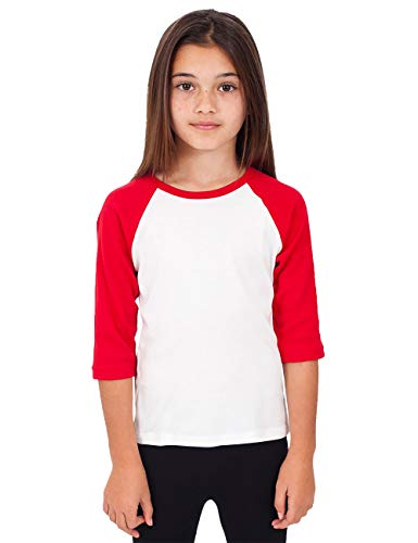 Hat and Beyond Kids Raglan Jersey Child Toddler Youth Uniforms 3/4 Sleeves T Shirts (X-Small (2-3 Years), (Kid) 5bh03_White/Red)