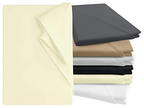 npluseins Bettlaken - 100% Baumwolle - in 6 Farben - in 3 verschiedenen Größen - Haushaltstuch ohne Spanngummi, ca. 150 x 250 cm, Natur