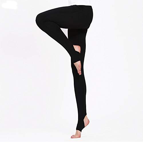 DHTOMC Workout Yoga Pants Enge hochelastische Fuß-Yoga-Hosen im Freiensport-Normallack-beiläufige Fitness-Hosen für Frauen Mädchen Teen (Color : Black, Size : S)