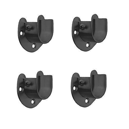 FYTRONDY Black Edition Stainless Steel Wardrobe Closet Rod Bracket, U-Shaped Open Type Socket Bracket, Shower Curtain Rod Pole End Supports Sockets Flange (1 INCH , 4 PACK)