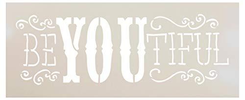 be-you-tiful Schablone von studior12| Fun Fancy Wort Art–klein 12x 12,7cm wiederverwendbar Mylar | Malerei, Kreide, Mischtechnik | Vorlage, für Journaling, DIY Home Decor–stcl651_ 2