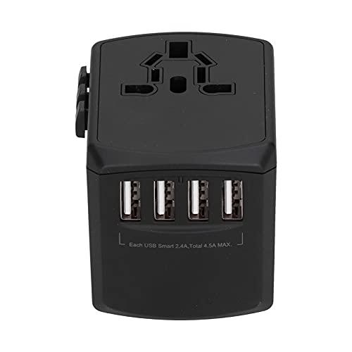 Adaptador de Viaje Universal Adaptador de Enchufe Convertidor de Corriente con 4 Puertos USB, Reino Unido UE EE. UU. JP AU CN Adaptador de Enchufe Todo en Uno - Más de 220 Países 100 ~ 240 V(Negro)