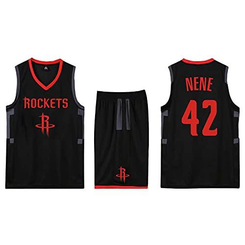 EFXCHSY Conjunto de 2 piezas de camiseta sin mangas de entrenamiento de baloncesto y pantalones cortos Traje de camiseta Pantalones cortos deportivos Houston Rockets Jerseys + Pantalones Hom