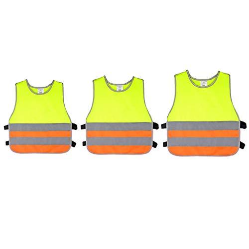 non-brand 3 Piezas Niños Reflectante Chaleco de Seguridad de Alta Visibilidad Chaqueta Ropa de Seguridad Poliéster S-3-6 años/M-7-9 años/L-9-12años