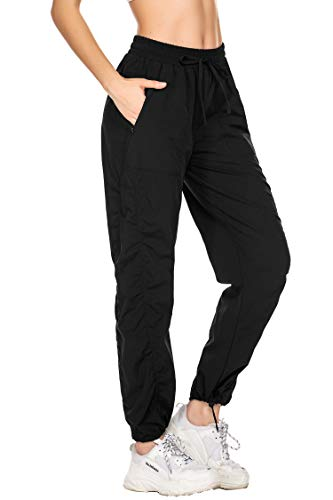 Sporthose für Damen Lang mit Taschen Jogginghose Yogahose Freizeit Fitness Traininghose Locker Loose Fit mit bündchen schwarz S