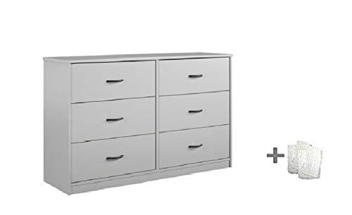 Mainstays Drawer Dresser, (6-Drawer, Dove Gray + Free Bundle)