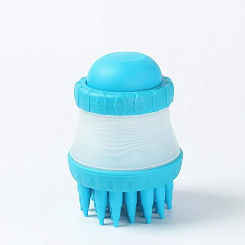 Mascota masaje peine cepillo de limpieza de baño ducha cabeza de silicona baño suciedad limpiador de polvo jabón champú perro gato cuero cabelludo azul