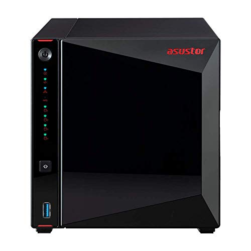 Asustor AS5304T | Gaming Inspired Network Attached Storage | 1.5GHz Quad-Core, Two 2.5GbE Port, 4GB RAM DDR4, 4GB eMMC Flash Memory | Personal Private...