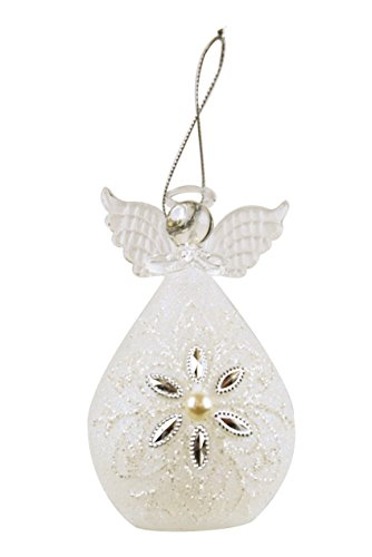 Red Carpet Studios Gemmed Snowflake Angel Tea Light Up 4.75 Inch Glass Christmas Ornament Figurine