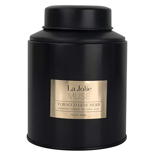 La Jolíe Muse Large Scented Candles, Warm Vanilla Tobacco Leaf Herb for Sweet Home Fragrance in Large Black Tin, 85-100H Burn Time 369g