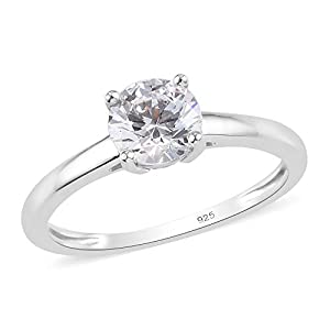 J FRANCIS Solitaire Ring Made with Swarovski Zirconia for Women in Platinum Plated 925 Sterling Silver Engagement Gemstone Jewellery Size T