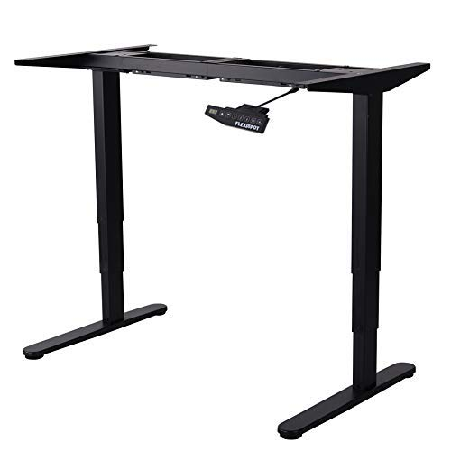 FLEXISPOT Height Adjustable Electric Standing Desk Frame Only Three-Stage Heavy Duty Steel Stand Up Desk with Automatic Memory Smart Keyboard(Black)
