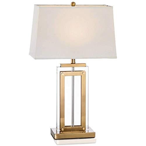 Lámpara de Mesa de Iluminación Decorativa Interior Lámpara de mesa - Lámpara de mesa de cristal con la cortina blanca de lino del tambor, mano hecha a mano elegantes lámparas de mesita de noche del do