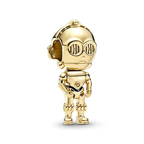 Pandora Star Wars C-3PO Charm in Schwarz-Gold mit 18 Karat vergoldete Metalllegierung aus der Star Wars x Pandora Collection