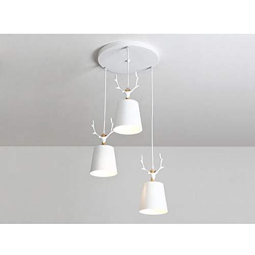 Dongbin LED Hängeleuchte Esszimmer 3-Flammig Pendelleuchte Deckenleuchte Aus Metall Inklusiv E27 Leuchtmittel in Warmweiß Pendellampe Hängelampe Wohnzimmerlampe,Weiß