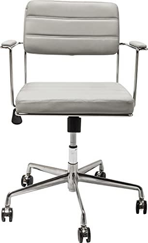 Kare Chaise de Bureau pivotante, Acier Aluminium chromé/Bois lamellé, Gris, Taille Unique