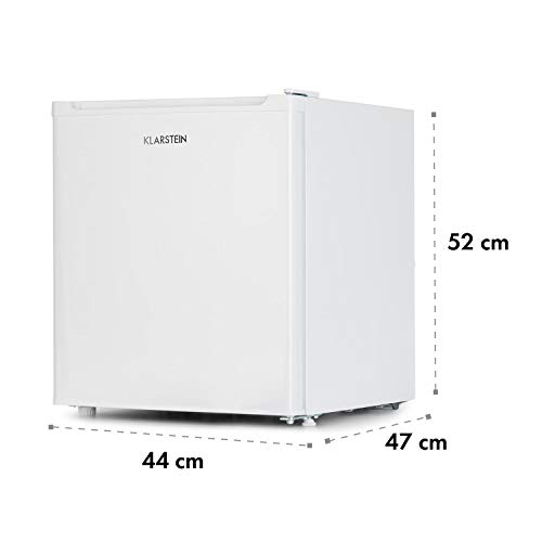 Klarstein Garfield Eco White Edition - Minicongelador de 4 estrellas, Volumen 34 L, 117 kWh/año, 41 dB, Balda extraíble, Diseño compacto, Clase de eficiencia energética A++, Altura regulable, Blanco
