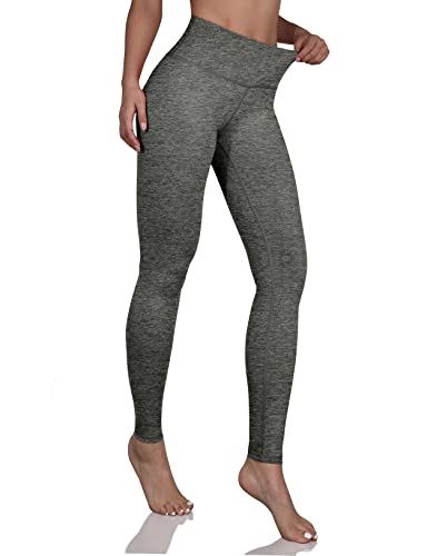 ODODOS Women's Mid Waisted Yoga Pants with Pocket, Full-Length Yoga Leggings Workout Pants with Pockets,CharcoalHeather,Small