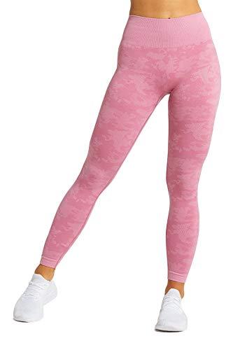 Pau1Hami1ton Hohe Taille Camo Farbverlauf Nahtlose Leggings für Damen Gym Capri Strumpfhose Yogahosen Mädchen Fitness Sport Gradient Seamless Leggings GP-14(Pink,M)