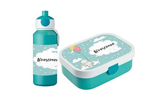 wolga-kreativ Brotdose Obsteinsatz Bento Box und Trinkflasche auslaufsicher BPA frei für Kinder Rosti Mepal für Mädchen Jungen Hase Luftballon personalisiert mit Namen Lunchbox Brotbox mit Fächern