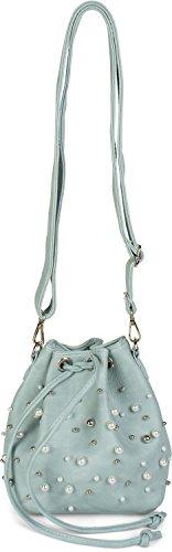 styleBREAKER kleine Bucket Bag Beuteltasche mit Perlen, Umhängetasche, Schultertasche, Handtasche, Tasche, Damen 02012248, Farbe:Hellblau