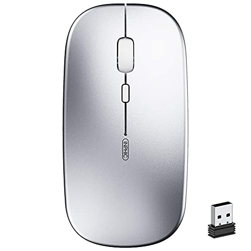 Mouse Wireless Ricaricabile, inphic Mouse Ottico Mini Silenzioso Con Clic Mute, 1600 Dpi Ultra Sottile Per Notebook, PC, Laptop, Computer, Macbook (Argento chiaro)