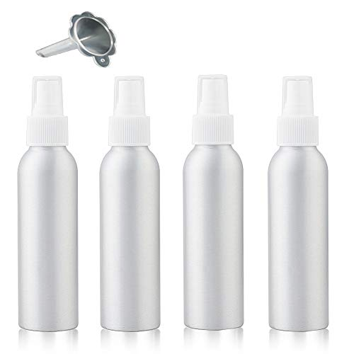 4 Packs Spray Bottle, 1.8oz/50ml Continuous Mist Spray Bottles, Small Empty Refillable Spray Bottle, Mini Travel Size, Great for Essential Oil, Hairspray, Liquids, Aromatherapy, Perfume, M/U Remover