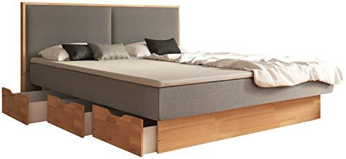 SuMa - Doppel Wasserbett 180x210 dual mit 6 Schubkästen im Unterbausockel Kernbuche und Kopfteil Duetto, Farbe lightgrey 180x210 cm