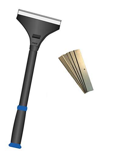 Farbschaber PREMIUM Tapetenschaber Handschaber Bodenschaber Schnellwechselvorrichtung Drehverschluss 100 mm inkl. 5 Ersatzklingen Profi-Werkzeug - Mit TPR Griff