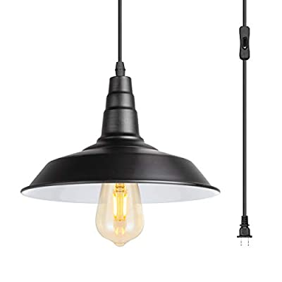 15 Feet Extension Hanging Lantern Pendant Light,Swag Lights with Plug in Cord and On/Off Switch,Industrial Barnyard Metal Hanging Ceiling Pendant Lamps for Dining Room, Bed Room Or Warehouse,UL Listed