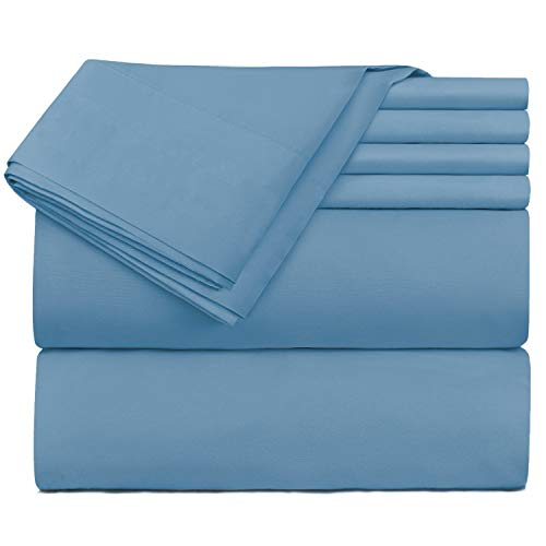 Hearth & Harbor Extra Deep Pocket Bed Sheet Set, Fits Mattress up to 21 inces Depth, Breathable, Super Soft, Extra Set of Pillowcases Included. Queen, Blue Heaven