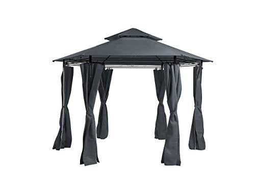 Beliani Modern Outdoor Hexagonal Gazebo Fabric Curtains 350 cm Metal Frame Dark Grey Portel