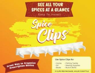 Spice Clips Organizer Spice Rack 30 Spice Clips with 3M Adhesive Store or Organize your Spices Prescription Bottles Sprinkles Craft Paints and More on your Cabinet Door or in your Pantry