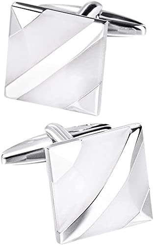 ALOMIN 2 gemelos cuadrados para hombre, vestido de boda, novio, gemelos de moda real para corbata de madreperla (color: blanco)