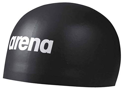Arena 3D Soft Cap Swim Cap, Black, Medium
