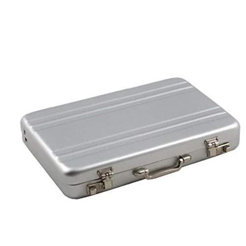 Stilvolle Mini-Koffer geformt Visitenkartenhalter Aluminium-Namenskartenhalter beweglicher kreativer Entwurf Kreditkartenetui Silber