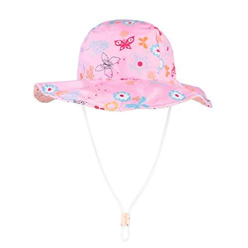 GEMVIE Sombrero Playa Bebe ala Ancha Protege Sol Verano Niña Gorra Viaje/Aire Libre,Estampado Floral Pescador Sombrero
