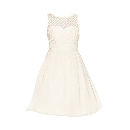 Little Mistress Womens/Ladies Lace Grid Prom Dress (10) (Nude)