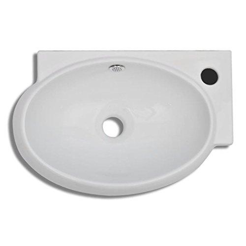 mewmewcat Keramik Waschtisch Waschbecken Handwaschbecken Keramikwaschtisch Keramikspülen mit Überlauf 41 x 28 x 12,5 cm Weiß
