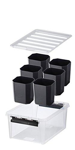 Orthex 3507190 Aufbewahrungssystem, Box 15 mit 6 schwarzen Einsätze Premium Qualität, transparent