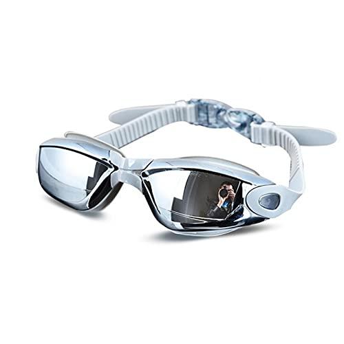 GCDN Gafas de natación, gafas de natación ajustables con lente antivaho y amplia visión, 100% protección UV gafas de buceo para hombres y mujeres (gris)