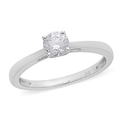 TJC RoundWhite Diamond Solitaire Ring for Women In 9ct White Gold